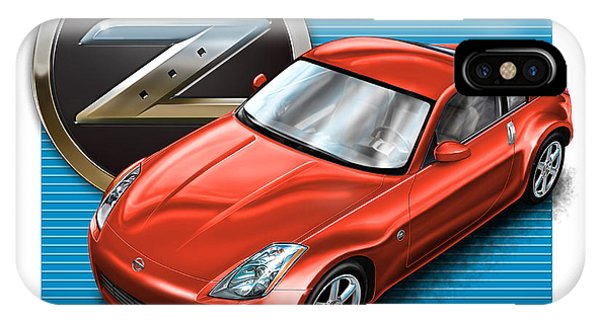 Nissan iPhone Case - Nissan Z350 Red by David Kyte