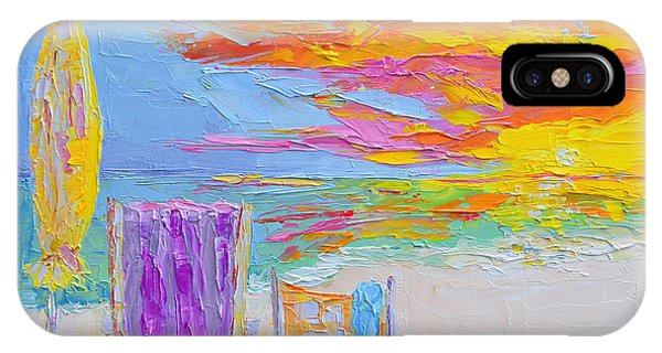No Need For An Umbrella - Sunset At The Beach - Modern Impressionist Knife Palette Oil Painting IPhone Case