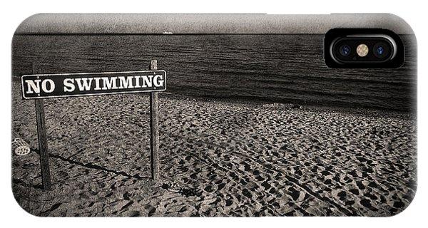 New England Coast iPhone Case - No Swimming by Evelina Kremsdorf