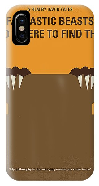 Wizard iPhone X / XS Case - No962 My Fantastic Beasts And Where To Find Them Minimal Movie Poster by Chungkong Art