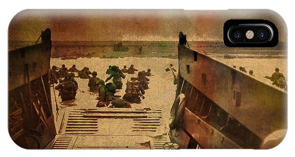 Normandy iPhone Case - Normandy Beach On Dday World War Two Watercolor Tinted Historical Photograph On Worn Canvas by Design Turnpike