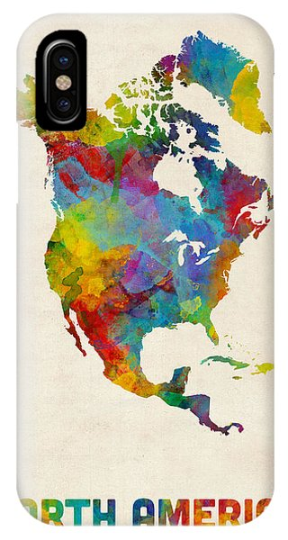 North iPhone Case - North America Continent Watercolor Map by Michael Tompsett