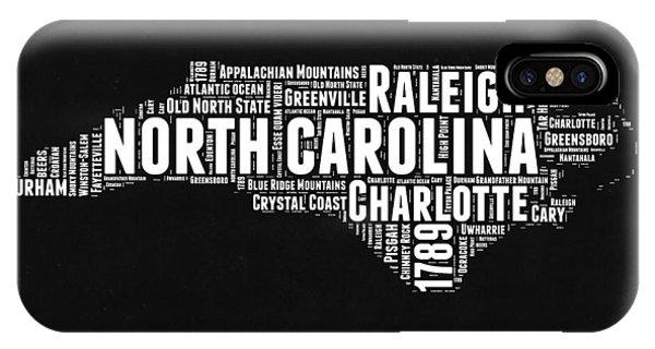 North Carolina iPhone Case - North Carolina Black And White Word Cloud Map by Naxart Studio