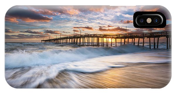 North Carolina Outer Banks Seascape Nags Head Pier Obx Nc IPhone Case