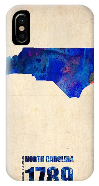 Global iPhone Case - North Carolina Watercolor Map by Naxart Studio