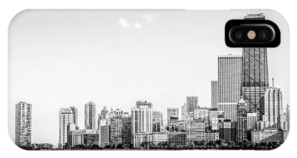Hancock Building iPhone Case - North Chicago Skyline Panorama In Black And White by Paul Velgos