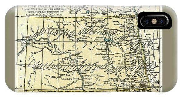 North Dakota Antique Map 1891 IPhone Case