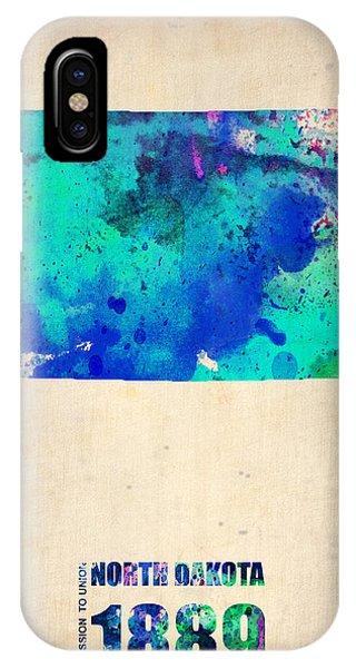 North iPhone Case - North Dakota Watercolor Map by Naxart Studio