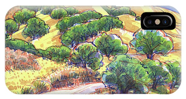 IPhone Case featuring the painting North Gate Road, Mount Diablo by Judith Kunzle