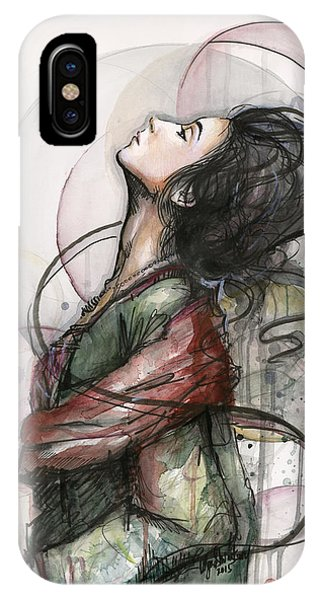 Watercolors iPhone X Case - Beautiful Lady by Olga Shvartsur
