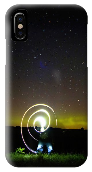 Northern Lights And Night Writing IPhone Case