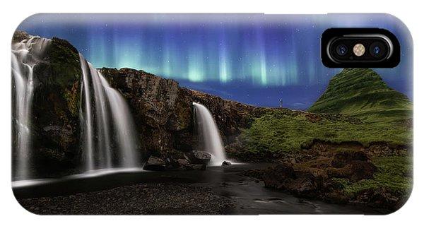 Stream iPhone Case - Northern Lights At Kirkjufellsfoss Waterfalls Iceland by Larry Marshall