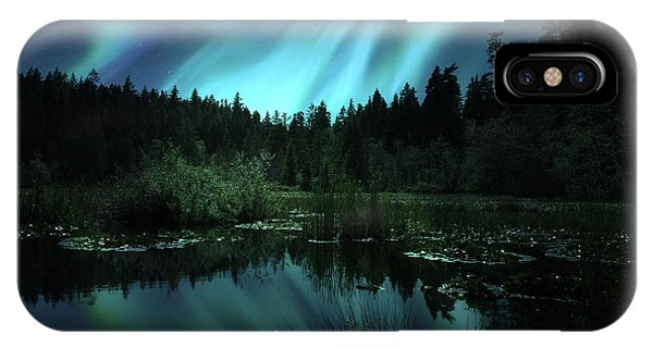 Northern Lights Over Lily Pond IPhone Case