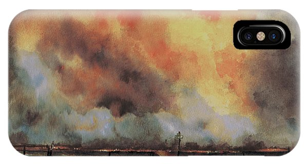 IPhone Case featuring the painting Northwest Oklahoma Wildfire by Sam Sidders