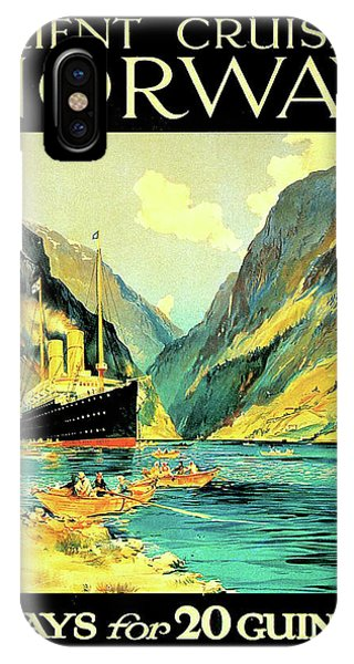 Cruise Ship iPhone Case - Norway Orient Cruises, Vintage Travel Poster by Long Shot