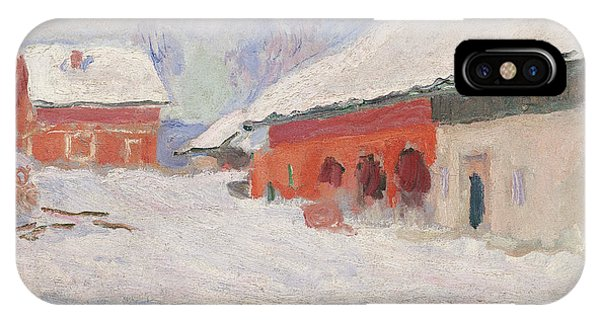 Barn Snow iPhone Case - Norway, Red Houses At Bjornegaard, 1895 by Claude Monet