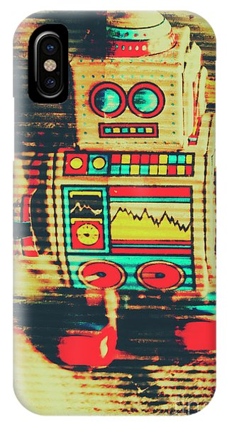 Metal iPhone Case - Nostalgic Tin Sign Robot by Jorgo Photography - Wall Art Gallery
