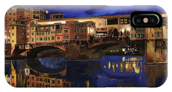 IPhone Case featuring the painting Notturno Fiorentino by Guido Borelli
