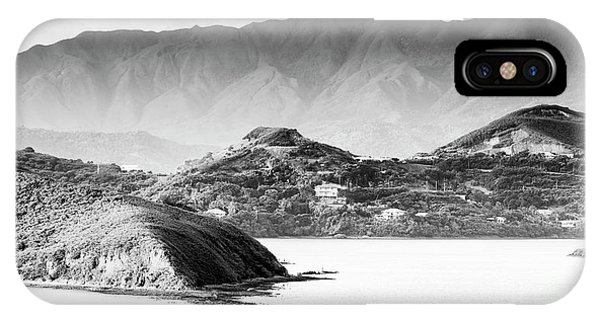 IPhone Case featuring the photograph Noumea Sunset Landscape Black And White by Tim Hester