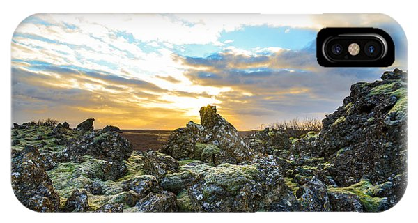 November Light Over Icelandic Lava Field IPhone Case