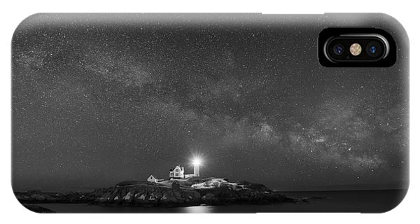 Nubble Light iPhone X Case - Nubble Light At Night Bw by Michael Ver Sprill