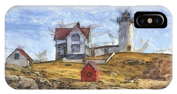 Nubble Light iPhone X Case - Nubble Light Cape Neddick Lighthouse Sohier Park York Maine Pencil by Edward Fielding