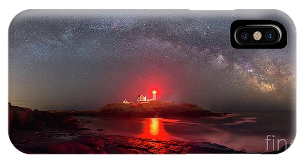 Nubble Light iPhone X Case - Nubble Light Milky Way Panorama  by Michael Ver Sprill