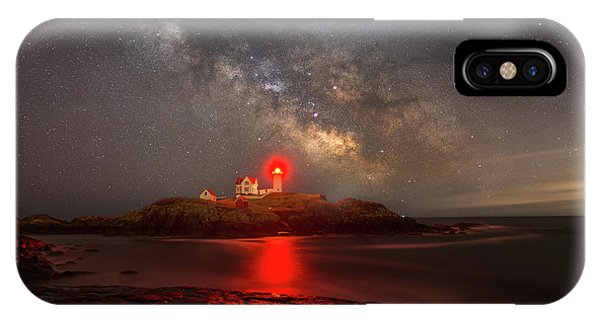 Nubble Light iPhone X Case - Nubble Light Milky Way Rising by Michael Ver Sprill