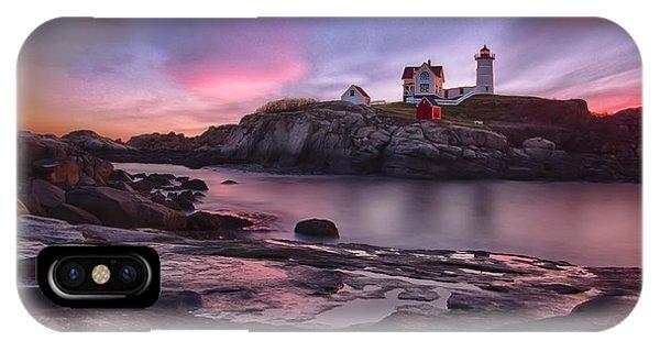 Nubble Lighthouse At Sunrise York Me IPhone Case