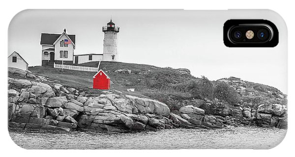 IPhone Case featuring the photograph Nubble Lighthouse In Color And Black And White by Doug Camara
