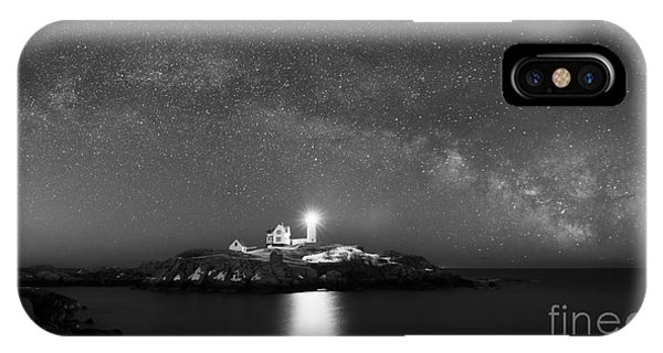 Nubble Light iPhone X Case - Nubble Lighthouse Milky Way Pano Bw by Michael Ver Sprill