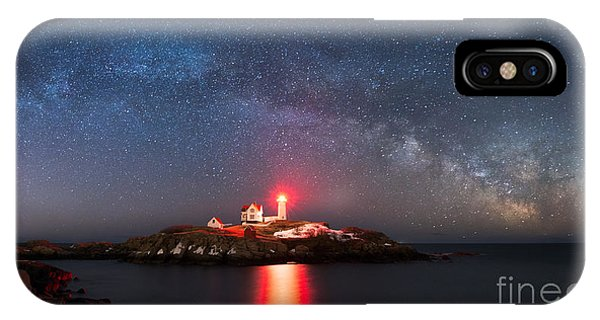 Nubble Light iPhone X Case - Nubble Lighthouse Milky Way Pano by Michael Ver Sprill