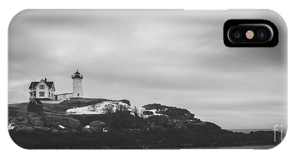 Nubble Light iPhone X Case - Nubble Lighthouse Overcast Bw by Michael Ver Sprill