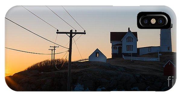Nubble Light iPhone X Case - Nubble Lighthouse Panorama Sunrise by Michael Ver Sprill