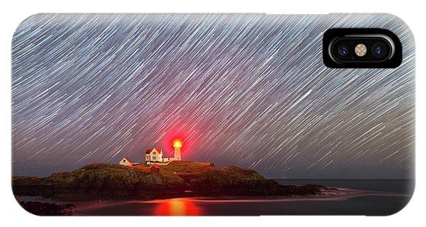 Nubble Light iPhone X Case - Nubble Lighthouse Star Trails  by Michael Ver Sprill