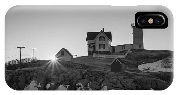 Nubble Light iPhone X Case - Nubble Lighthouse Sunburst Bw by Michael Ver Sprill