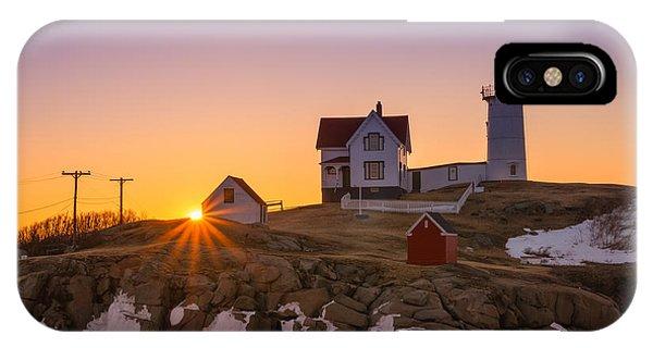 Nubble Light iPhone X Case - Nubble Lighthouse Sunburst by Michael Ver Sprill