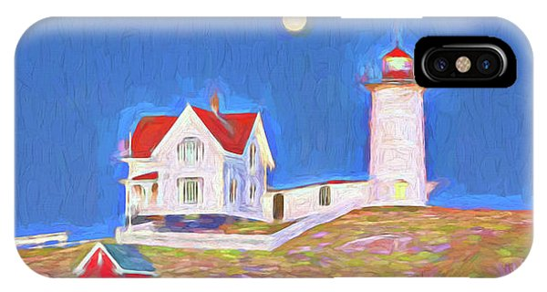 Cape Neddick Lighthouse iPhone Case - Nubble Lighthouse With Moon by David Smith