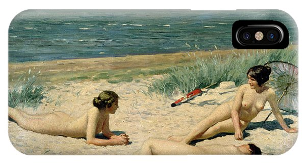Sunbather iPhone Case - Nude Bathers On The Beach by Paul Fischer