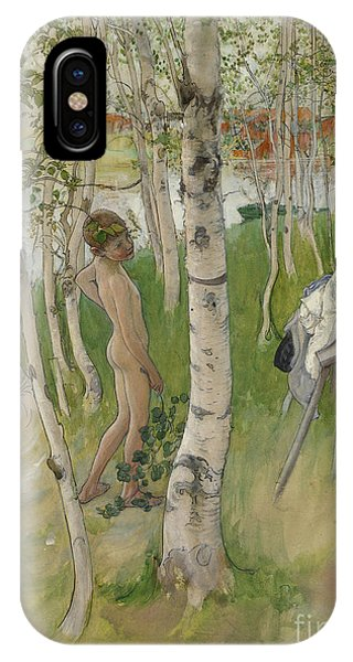 Youthful iPhone Case - Nude Boy Among Birches by Carl Larsson