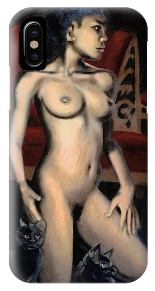 Nude Female Woman Kneeling With Cats IPhone Case