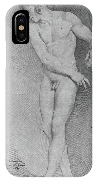 Pastel Pencil iPhone Case - Nude Looking Down To The Left by Edme Bouchardon