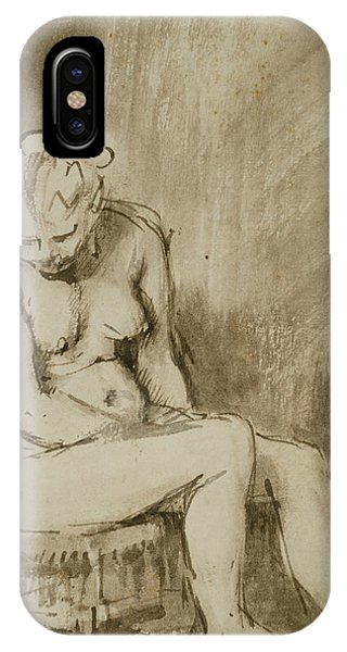 Baroque iPhone Case - Nude Woman Seated On A Stool  by Rembrandt