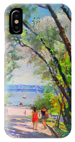 Hudson River iPhone Case - Nyack Park A Beautiful Day For A Walk by Ylli Haruni