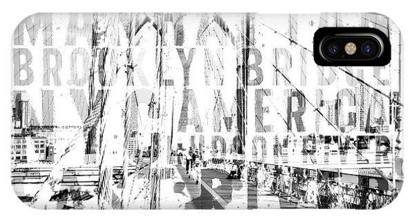 Black And White Art iPhone Case - Nyc Brooklyn Bridge Typography No2 by Melanie Viola