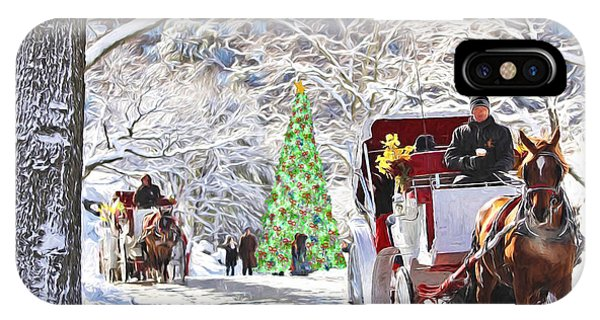Festive Winter Carriage Rides IPhone Case