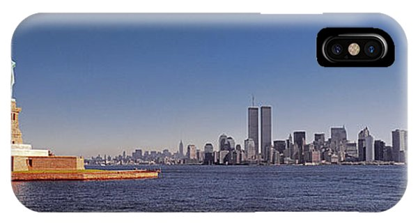 New, York, City, Skyline, Twin, Towers, Statue Of Liberty  IPhone Case