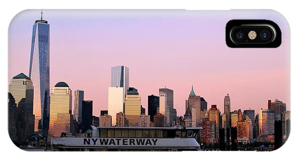 Nyc Skyline With Boat At Pier IPhone Case