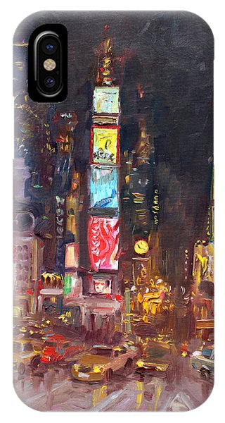 Times Square iPhone Case - Nyc Times Square by Ylli Haruni