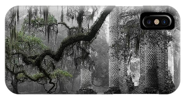Old Building iPhone Case - Oak Limb At Old Sheldon Church by Scott Hansen